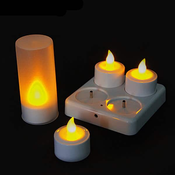 LED Rechargeable Flameless Tearlight Flickering Tea Light Candles CL213804Y-1