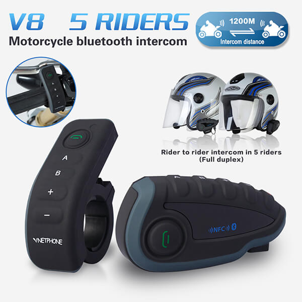 New Vnetphone V8 1200m handsfree talking wireless motorcycle half helmet intercom-6