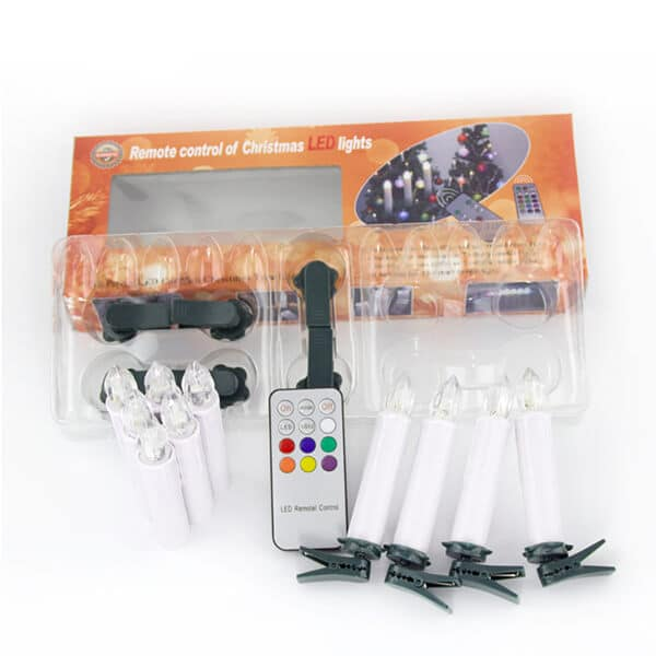 Wireless Remote Control Christmas Tree Candles Warm White Light CK01-WM1006-6
